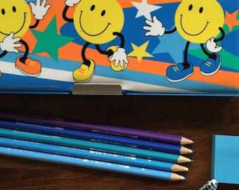Vintage pencil box plastic pencil case smiley faces 1980's 2 compartments