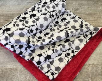 Baby Blanket, Soccer Baby Boy Minky Blanket, Toddler Soccer Baby Bedding Gender Neutral Baby Blanket