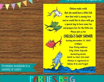 Dr. Seuss One Fish Two Fish Baby Shower Party Invitations Invites Personalized Custom