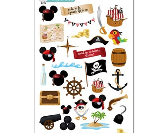 Pirate Mickey Stickers - Disney Planner Stickers
