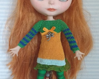 Orange and green stripes dress for Blythe