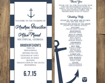 Anchor Wedding Program, Stripe Wedding Program, Navy Wedding Program, Nautical Wedding Program,  Stripe Invitation