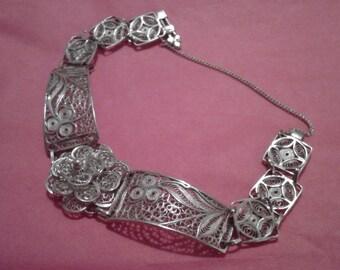 Lovely filigree pure silver bracelet