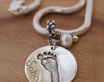 Silver personalised Handprint necklace, baby footprint pendant Pandora necklace, personalised gift, mothers day, baby handprint jewellery