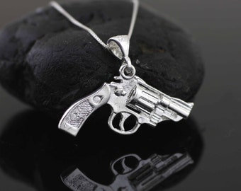 Sterling Silver Gun Necklace, Silver Pistol Necklace, Sterling Silver Revolver Necklace, Sterling Silver Weapon Necklace,  Gun Charm,