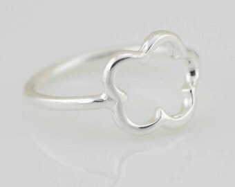 Sterling Silver Knuckle Ring, Sterling Silver Midi Ring, Silver Knuckle Flower Ring, Silver Minimalist Flower Ring, Modern Knuckle Ring