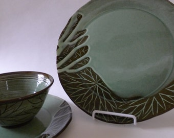 Handmade Pottery Dinner Set of Three, Green, Celadon, Decorated with Flowers