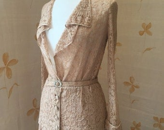 Rare 1920s deco vintage Alencon lace suit with rhinestone belt buckle. Flapper wedding era