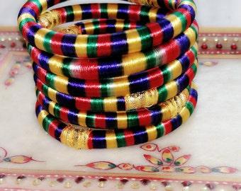 6 multicolor silk thread wrap bracelet bangle india