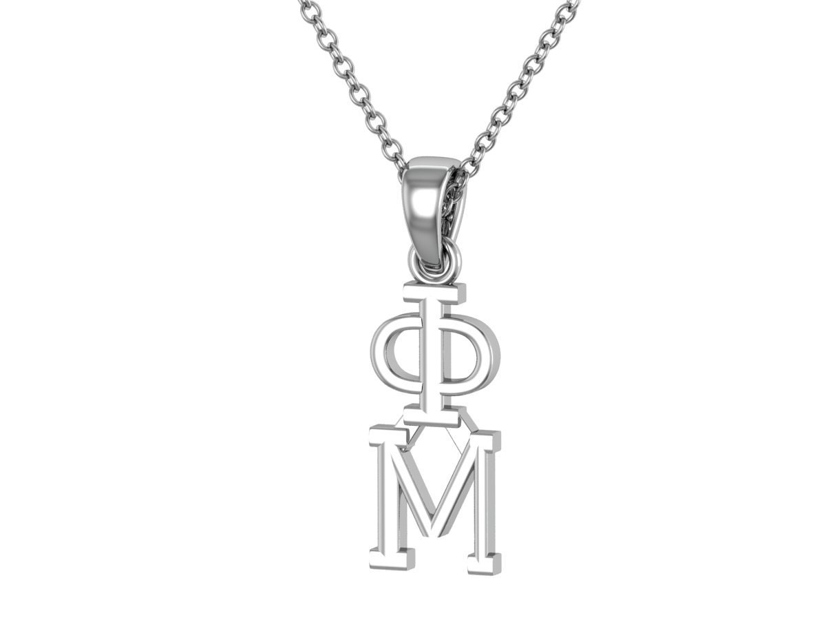 phi mu necklace sterling silver phi mu lavalier big