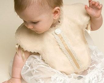 Girls Christening Bib, 'Louisa' Collection, Baptism Bib