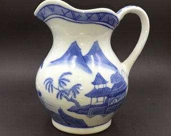 Vintage Hand Painted Blue and White Chinese Pitcher Blue Willow