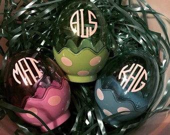 Personalized / Monogrammed Polka Dot Fillable Easter Eggs • Stand Up Eggs •Stuff 'Em With Candy & Goodies • Purple   Blue   Green