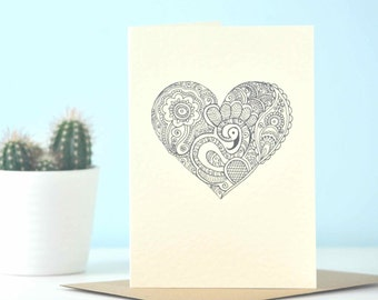 Illustrated Valentines heart card - eco friendly illustration, perfect unique wedding or engagement card