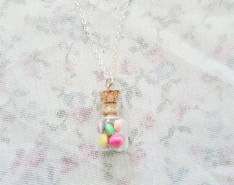 Pastel macaron  in a bottle necklace