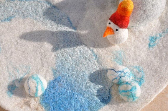 Winter Playmat Play Mat Waldorf Felted Playscape Waldorf Pinetree Christmas Nature Landscape Play snowman snowdrop cave natural