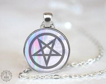 Mystic Inverted Pentagram Necklace. Satanic Jewelry, Pentagram Necklace, Seapunk, Holograph, Pastel Goth Jewelry, Occult Jewelry, Luciferian