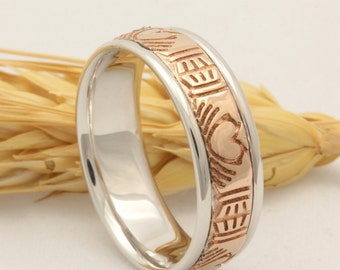 7mm 14K/18K Rose Gold & White Gold Crafted Claddagh Design, Comfort Fit, Wedding Band,  Gold Rings, Two Tone Band, FREE ENGRAVING
