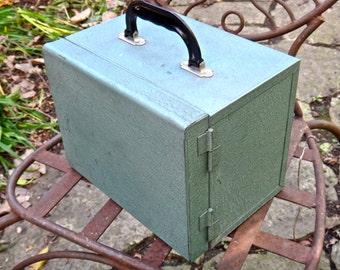 Green Metal Slide Storage Case with Slide Cases, Coin Case, Metal Box, Industrial MCM Decor, Mens Man Cave, Green Metal Storage Box AV