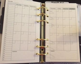 Printed Personal Planner Filofax Kikki K Medium Monthly Undated Inserts 20 Sheets