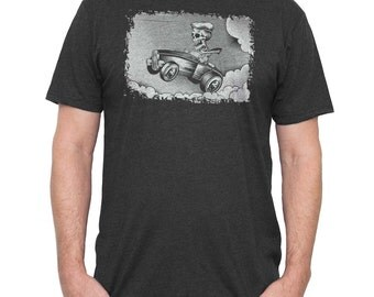 Hot Rod Shirt -Mens Muscle Car T-Shirt -Mens 1932 Ford Shirt - Skeleton Driving a HotRod Hand Screen Printed on a Mens Shirt- Mens Car Shirt