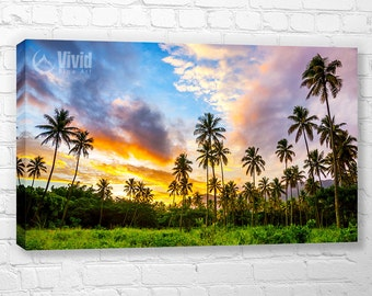 Palm Tree Sunset Canvas Print, palm tree canvas, 4 panel canvas, 48 inches wide, 4 feet wide, palm tree photography, tropical wall art