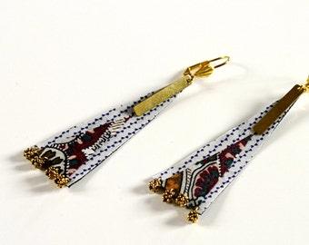 Fabric Earrings -Ethnic Earrings - Pattern Fabric - Fabric Mosaic - fabric Jewelry - Earrings Fabric