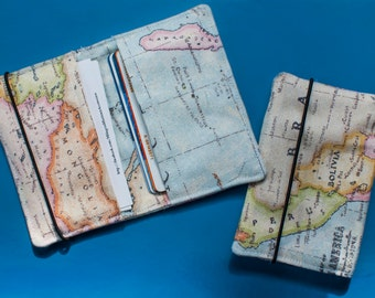 World Map Card Holder Case Change Purse for Credit Cards and Business Cards - Travel Gifts and Business