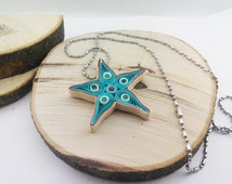 Quilling necklace - Light Blue Star, paper quilling jewelry, paper jewelry, quilling necklace, papper necklace