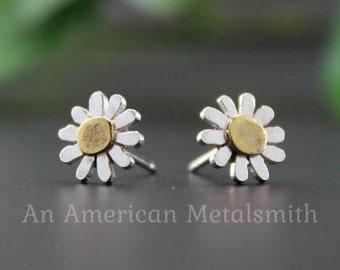 Sterling Silver Gerbera Daisy Earrings, Daisy Stud, Daisy Post, Daisy Jewelry, Flower Earrings, White Daisy Earrings, Gifts for Her