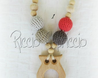 Necklace for mom Breastfeeding-Wooden Teething and natural cotton