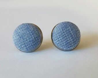 Chambray fabric button stud Earrings