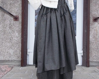 Maxi skirt.Pleated Skirt.Gray/green plaid.Boho skirt. Многослойная юбка в пол ,