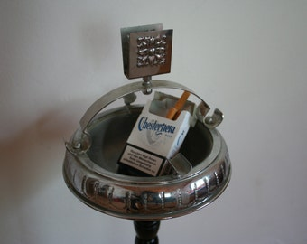 Vintage  ashtray stand. Chrome and black.