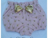 Unique blush pink Bloomers with gold metallic deer silhouettes featuring a shiny gold bow Available in sizes 0-3 months thru 5T