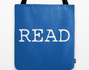 Read / Decorative Tote Bag/ Custom Color Tote Bag/ CHOOSE YOUR COLORS/ Librarian gift/ book lover/ book bag