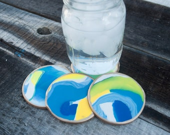 Blue & Yellow Clay Coasters - Set of 4