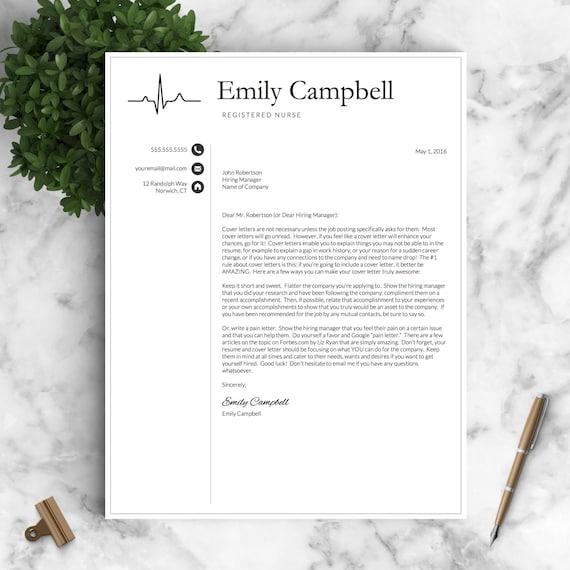 nurse resume template for word  u0026 pages    by landeddesignstudio