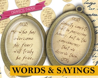 Inspirational Words and Sayings, Digital collage sheet - 30x40mm ovals - Printable oval Images Words Glass & Resin, Images pendant - OV44