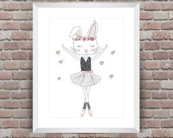 Dancing Ballerina Bunny kids decor wall print
