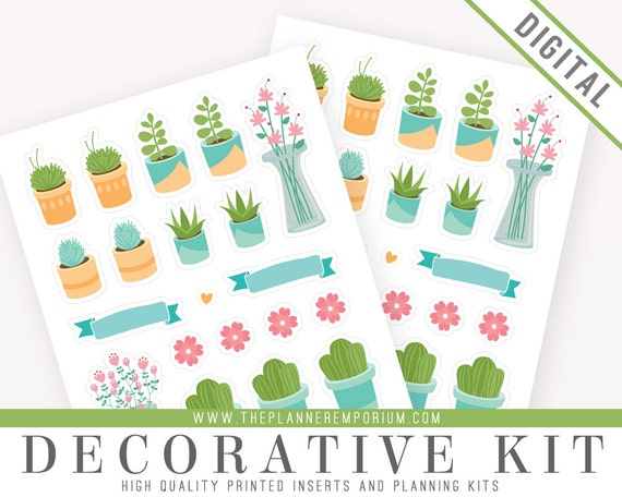 decorative sticker sheet printable cute succulent garden