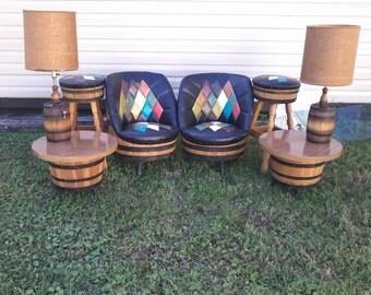 9 Piece Living Room Barrel Furniture Set