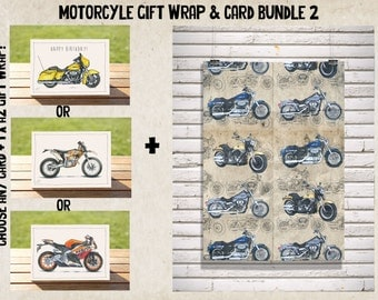 Dirty Harley Gift Wrap - Wrapping Paper - Wrap + Card Bundle No. 2 | Harley Davidsons A2 Premium Satin Finish Wrap + ANY CARD!