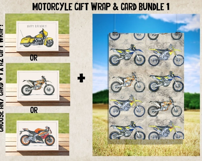 Dirty Dirt Bikes Gift Wrap - Wrapping Paper - Wrap + Card Bundle No 1 | Dirt Bikes A2 Premium Satin Finish Wrap + ANY CARD!