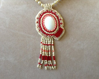 Bead embroidery pendant necklace (item #334)