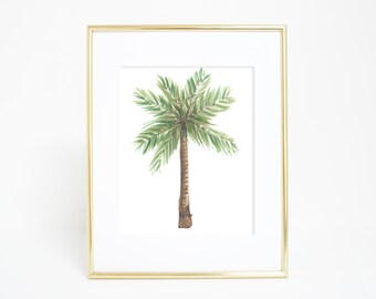 Beach Printable, Tropical Print, Palm Trees, Palm Tree Print, Watercolor Palm Tree, Nursery Artwork, Tropical Decor, Watercolor Print