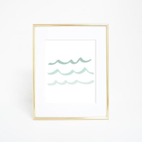 Wave Print, Printable Art, Mint Print, Digital Prints, Ocean Wall Print, Sea Wall Art, Mint Decor, Digital Art, Wave Art, Downloadable Print
