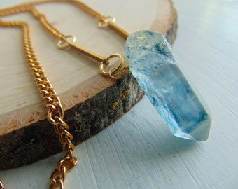 20% Off Any Order Blue Quartz & Gold-Plated Necklace