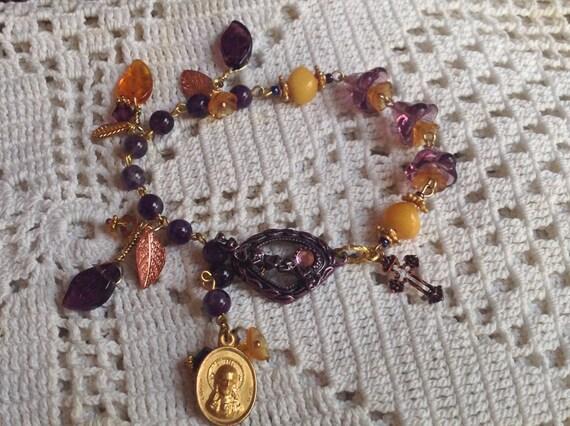 HEY MARY Peace Beads  Limited  edition by TR Jackson 10 k gf medal deluxe Amber Amethyst Czech crystal gem rosary  bracelet & keepsake box