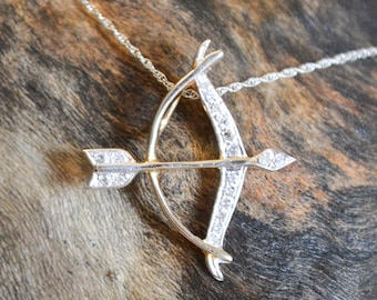 Diamond Bow and Arrow Necklace